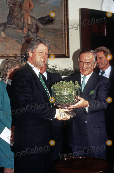 Jean Kennedy-Smith Photo - United States President Bill Clinton left participates in the annual presentation of a bowl of shamrocks honoring St Patricks Day with Taoiseach (Prime Minister) Albert Reynolds of Ireland right in the Roosevelt Room of the White House in Washington DC on March 17 1993 During his remarks President Clinton announced he was naming Jean Kennedy Smith as US Ambassador to IrelandCredit Martin H Simon  Pool via CNPAdMedia