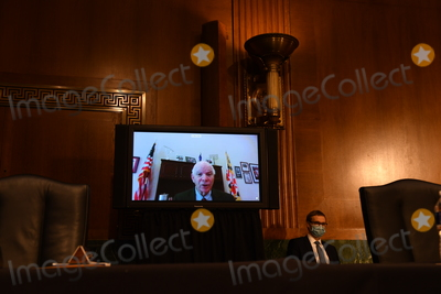 Andrew Wheeler Photo - United States Senator Ben Cardin (Democrat of Maryland) asks questions at a hearing titled Oversight of the Environmental Protection Agency before the US Senate Environment and Public Works Committee in the Dirksen Senate Office Building on Wednesday May 20 2020 in Washington DC EPA Administrator Andrew Wheeler will be asked about the rollback of regulations by the Environment Protection Agency since the pandemic started in March      Credit Kevin Dietsch  Pool via CNPAdMedia