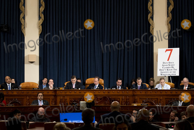 Andre Carson Photo - From left to right top row United States Representative Andre Carson (Democrat of Indiana) US Representative Jim Himes (Democrat of Connecticut) Majority Counsel Daniel Goldman US House Permanent Select Committee on Intelligence US Representative Adam Schiff (Democrat of California) Chairman US House Permanent Select Committee on Intelligence US Representative Devin Nunes (Republican of California) Ranking Member US House Permanent Select Committee on Intelligence Minority Counsel Stephen Castor US House Permanent Select Committee on Intelligence US Representative Jim Jordan (Republican of Ohio) and US Representative Mike Conaway (Republican of Texas) and from left to right bottom row US Representative Val Krishnamoorthi (Democrat of Illinois) and US Representative Will Hurd (Republican of Texas) listen to testimony before a US House Intelligence Committee impeachment inquiry hearing with Gordon Sondland the US ambassador to the European Union in Washington DC on Wednesday November 20th 2019 Credit Anna MoneymakerCNPAdMedia