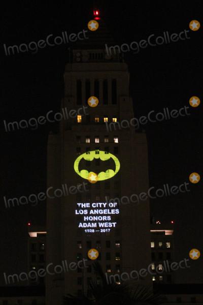 Angel City Photo - Batsignalat the Bat Signal Lighting Ceremony to honor Adam West Los Angeles City Hall Los Angeles CA 06-15-17