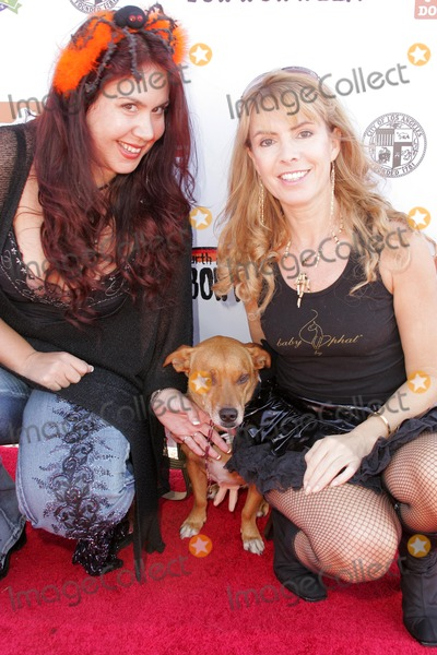 Bow Wow Photo - Julia Verdin with Fileena Bahris and Spanner who is wearing jewlery by Fileenaat the Fourth Annual Much Love Animal Rescue Bow Wow Ween Barrington Dog Park Los Angeles CA 10-30-05