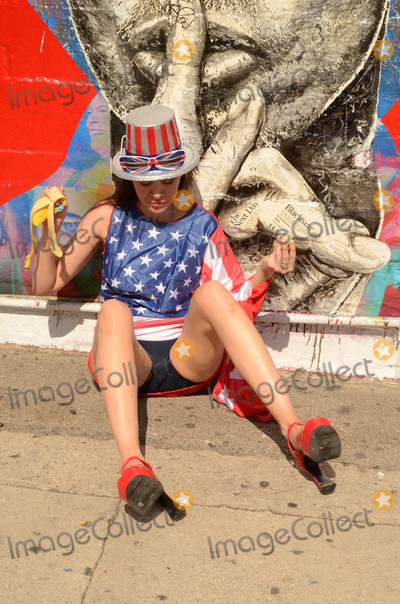 American Flag Photo - Alicia Ardendressed in a patriotic American Flag outfit for Fourth of July and heading to a fireworks concert at the Hollywood Bowl stops to pose in front of a street mural of David Bowie Hollywood CA 07-03-16