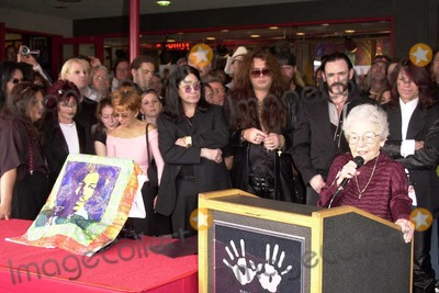Randy Rhoads Photo - Delores Rhoads speaks as Randy Rhoads family and friends watch at the ceremony posthumously inducting guitarist Randy Rhodes into Hollywoods Rockwalk on Sunset Boulevard Hollywood CA 03-18-04
