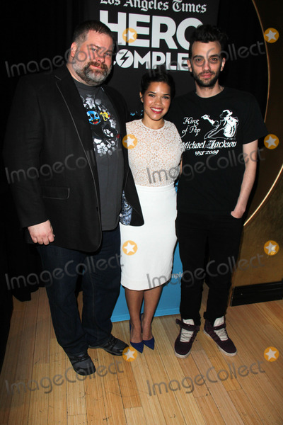 AMERICA FERRARA Photo - Dean DeBlois America Ferrara Jay Baruchelat the How To Train Your Dragon 2 Advaced Screening at Hero Complex Film Festival TCL Chinese 6 Hollywood CA 05-31-14