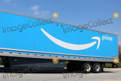 The Amazons Photo - LOS ANGELES - APR 11  Amazone Prime Truck at the Businesses Responding to COVID-19 at the Amazon Fulfillment Center on April 11 2020 in San Bernardino CA