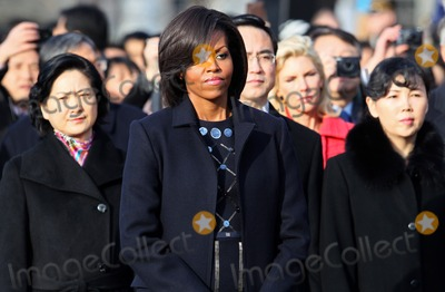 Mark Wilson Photo - WASHINGTON DC - JANUARY 19 (AFP OUT) US first lady Michelle Obama attends a State arrival ceremony on the South Lawn of the White House January 19 2011 in Washington DC Obama and Hu are scheduled to meet in the Oval Office later in the day hold a joint press conference and attend a State dinner  Photo by  Mark WilsonPoolCNP-PHOTOlinknet