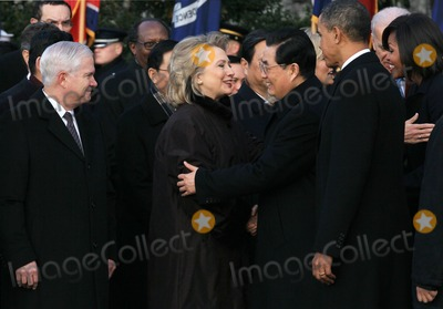 Robert gates Photo - WASHINGTON DC - JANUARY 19 (AFP OUT) Chinese President Hu Jintao (C) escorted by US President Barack Obama (2nd R) reaches to embrace US Secretary of State Hillary Clinton during a State arrival ceremony on the South Lawn of the White House January 19 2011 in Washington DC Obama and Hu are scheduled to meet in the Oval Office later in the day hold a joint press conference and attend a State dinner Also pictured (L-R) are US Defense Secretary Robert Gates and US first lady Michelle Obama  Photo by  Mark WilsonPoolCNP-PHOTOlinknet
