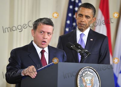 King Abdullah II of Jordan Photo - Peace Talks8249JPGRESTRICTED NEW YORKNEW JERSEY OUTNO NEW YORK OR NEW JERSEY NEWSPAPERS WITHIN A 75 MILE RADIUS OF NYCKing Abdullah II of Jordan makes remarks as United States President Barack Obama looks on in the East Room of the White House following a series bi-lateral meetings in Washington DC on Wednesday September 1 2010  The statements are in advance of the opening of the first direct talks in two years between Israel and the Palestinian Authority scheduled to begin at the State Department in Washington DC tomorrow  Photo by Ron SachsPoolCNP-PHOTOlinknet