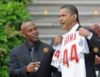 Jimmy Rollins Photo - Washington DC - May 15 2009 -- United States President Barack Obama shows off the jersey presented to him by shortstop Jimmy Rollins left as he welcomes the 2008 Baseball World Champion Philadelphia Phillies to the White HouseDigital Photo by Ron SachsPOOL-CNP-PHOTOlinknet