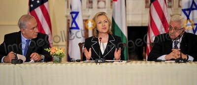 Benjamin Netanyahu Photo - United States Secretary of State Hillary Rodham Clinton makes remarks as she hosts the Relaunch of Direct Negotiations Between the Israelis and Palestinians in the Benjamin Franklin Room of the US Department of State on Thursday September 2 2010  At left is Prime Minister Benjamin Netanyahu of Israel and at right is President Mahmoud Abbas of the Palestinian AuthorityCredit Ron Sachs  CNP(RESTRICTION NO New York or New Jersey Newspapers or newspapers within a 75 mile radius of New York City)