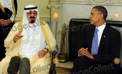 Abdullah bin Abdul Aziz Photo - United States President Barack Obama and King Abdullah bin Abdul Aziz al Saud of Saudi Arabia speak to the media after their meeting in the Oval Office of the White House in Washington on Tuesday June 29 2010Photo by Roger WallenbergPooL-CNP-PHOTOlinknet