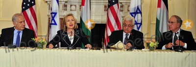 Benjamin Netanyahu Photo - United States Secretary of State Hillary Rodham Clinton makes closing remarks at the press event Relaunch of Direct Negotiations Between the Israelis and Palestinians in the Benjamin Franklin Room of the US Department of State on Thursday September 2 2010  From left to right Prime Minister Benjamin Netanyahu of Israel United States Secretary of State Hillary Rodham Clinton President Mahmoud Abbas of the Palestinian Authority and US Special Envoy to the Middle East George MitchellCredit Ron Sachs  CNP(RESTRICTION NO New York or New Jersey Newspapers or newspapers within a 75 mile radius of New York City)