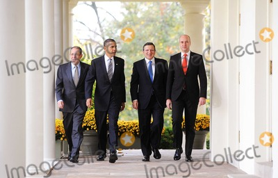 Javier Solana Photo - Washington DC - November 3 2009 -- (Left to Right) European Council High Representative Javier Solana  United States President Barack Obama President of the European Commission Jos Manuel Barroso and Prime Minister Fredrik Reinfeldt of Sweden walk from the Oval Office to the Cabinet Room to participate in the US-European Union Summit at the White HousePhoto by Olivier DoulieryPool-CNP-PHOTOlinknet
