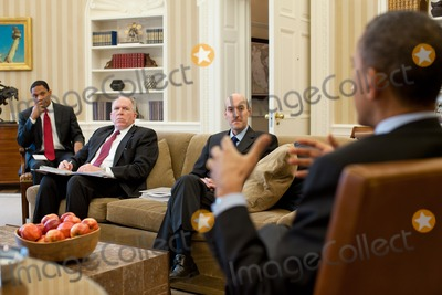 John Brennan Photo - United States President Barack Obama meets with Gregory Jaczko Chairman of the US Nuclear Regulatory Commission John Brennan Assistant to the President for Homeland Security and Counterterrorism and Rob Nabors Assistant to the President for Legislative Affairs in the Oval Office March 16 2011 Photo by Pete SouzaWhite HouseCNP-PHOTOlinknet