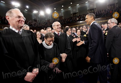 Stephen Breyer Photo - United States President Barack Obama greets Justice Sonia Sotomayor on Capitol Hill in Washington Tuesday January 25 2011 prior to delivering his State of the Union address Justices from left are Anthony Kennedy Ruth Bader Ginsburg Stephen Breyer and Sotomayor   Photo by Pablo Martinez Monsivais PoolCNP-PHOTOlinknet