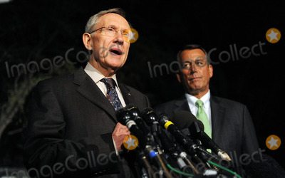 Harry Reid Photo - United States House Speaker John Boehner right and US Senate Majority Leader Harry Reid left make a statement after meeting with President Barack Obama at the White House Wednesday April 6 2011 in Washington DC President Obama  invited Boehner and Reid for a late meeting Wednesday night to discuss ongoing negotiations on a funding bill to fund the US Government through the end of the fiscal yearPhoto by Olivier Douliery PoolCNP-PHOTOlinknet