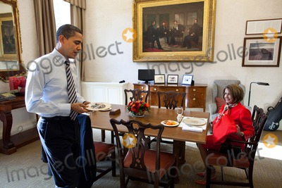 House Speaker Nancy Pelosi Photo - United States President Barack Obama has lunch with US House Speaker Nancy Pelosi (Democrat of California) in the Oval Office Private Dining Room December 20 2010 Photo by Pete SouzaWhite HouseCNP-PHOTOlinknet