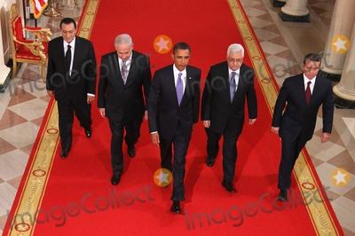 King Abdullah II of Jordan Photo - RESTRICTED NEW YORKNEW JERSEY OUTNO NEW YORK OR NEW JERSEY NEWSPAPERS WITHIN A 75 MILE RADIUS OF NYC(L-R) Egyptian President Hosni Mubarak Israeli Prime Minister Benjamin Netanyahu US President Barack Obama Palestinian Authority President Mahmoud Abbas and King Abdullah II of Jordan walk toward the East Room of the White House for statements on the first day of the Middle East peace talks September 1 2010 in Washington DC The White House has kicked off a new round of direct peace talks for the Middle East the first one in more than 18 months  Photo by Alex WongsPoolCNP-PHOTOlinknet