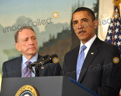 Arlen Specter Photo - Washington DC - April 29 2009 -- United States President Barack Obama right makes a statement welcoming United States Senator Arlen Specter (Democrat of Pennsylvania) left to the Democratic Party  In his remarks the President also addressed the effects of the H1N1 virus and his administrations response to the potential epidemicDigital Photo by Ron SachsPOOL-CNP-PHOTOlinknet