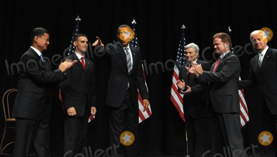 John Warner Photo - Fairfax VA - August 3 2009 -- United States President Barack Obama waves after speaking during an event to mark the implementation of the Post-911 GI Bill at George Mason University in Fairfax Virginia on Monday August 3 2009 On stage from left are US Secretary of Veterans Affairs General Eric Shinseki Marine Corps Staff Sergeant James Miller Obama former US Senator John Warner (Republican of Virginia) US Senator Jim Webb (Democrat of Virginia) and Vice President Joseph Biden  Photo by Roger WallenbergPOOL-CNP-PHOTOlinknet