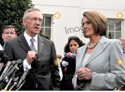 Harry Reid Photo - Washington DC - October 6 2009 -- United States Senate Majority Leader Harry Reid (Democrat of Nevada) makes remarks after meeting United States President Barack Obama on the US strategy in Afghanistan on Tuesday October 6 2009  At right is United States Speaker of the House Nancy Pelosi Digital Photo by Ron SachsPool-CNP-PHOTOlinknet
