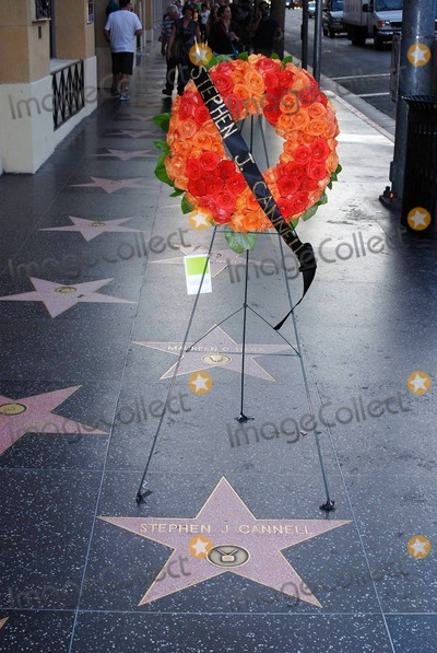 Stephen JCannell Photo - A wreath of flowers dedicated to television writer and Emmy award winning producer Stephen J Cannell stands at his star on the Hollywood Walk of Fame  Cannell died at his home in Pasadena on September 30th at the age of 69 reportedly from illness due to melanoma  Cannell co-created the well-known American TV shows The Rockford Files and The A-Team Los Angeles CA 100110