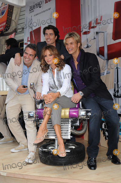 Andy Cohen Photo - Andy Cohen Senior VP of Production stylist Rene Fris actress Jaclyn Smith stylist Kim Vo pose at the launch of Shear Genius Season 2 at Military Island in Times Square on June 24 2008 in New York City