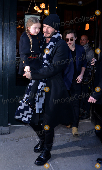 Brooklyn Beckham Photo - February 14 2016 New York CityDavid Beckham his daughter Harper and Brooklyn Beckham (R) leave Baththazar Restaurant on February 14 2016 in New York CityBy Line Curtis MeansACE PicturesACE Pictures Inctel 646 769 0430