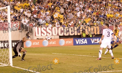 Tim Howard Photo - US goalkeeper Tim Howard watches Brazil forward Neymars header during the US vs Brazil game at the New Meadowlands Stadium on August 10 2010 in East Rutherford New Jersey