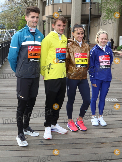 Charlotte Purdue Photo - London UK Callum Hawkins Dewi Griffiths Lily Partridge and Charlotte Purdue at Elite Runners Photocall for the London Marathon 2019 outside the Tower Hotel Race HQ on April 24th 2019Ref LMK73-4803-250419Keith MayhewLandmark MediaWWWLMKMEDIACOM