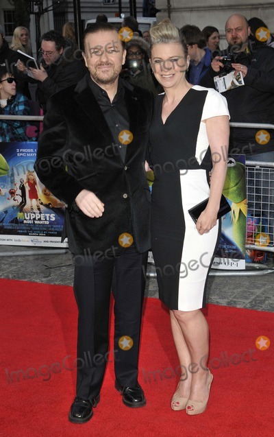 The Muppets Photo - London UK Ricky Gervais  Jane Fallon at the VIP screening of The Muppets Most Wanted at The Curzon Mayfair in London on March 24 2014Ref LMK315-47972-250312Can NguyenLandmark MediaWWWLMKMEDIACOM