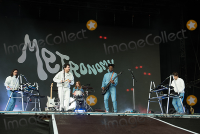 Victoria Park Photo - London UK (L-R) - Michael Lovett Lead singer Joseph Mount drummer Anna Prior Olugbenga Adelekan and Oscar Cash of Metronomy   performs on The East Stage   The All Points East Festival Victoria Park London England UK on Sunday 26 May 2019 RefLMK370-2502-280519Justin NgLandmark MediaWWWLMKMEDIACOM