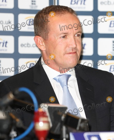 Andy Flower Photo - London UK  080211Andy Flower (cricketer) at a press conference at the Ranaissance Hotel at Heathrow Airport as the England squad arrive home from Australia after winning the Ashes series 3-18 February 2011Evil ImagesLandmark Media