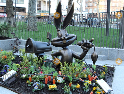 Leicester Square Photo - London UK Bugs Bunny statue at Launch of a trail of cinematic bronze statues - Scenes in the Square in Londons Leicester Square celebrating the locations rich history as the home of film and marking the squares 350th anniversary February 27th 2020Ref LMK73-J6288-280220Keith MayhewLandmark Media  WWWLMKMEDIACOM