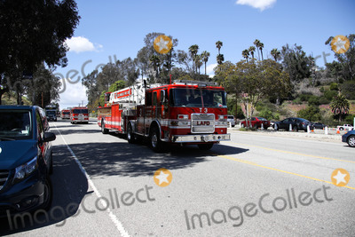 Train Photo - ELYSIAN PARK LOS ANGELES CALIFORNIA USA - MARCH 26 Los Angeles Fire Department (LAFD) fire engines passing a coronavirus COVID-19 drive-through testing site at Frank Hotchkin Memorial Training Center (FHMTC) at 1700 Stadium Way on March 26 2020 in Elysian Park Los Angeles California United States California the most populous US state has been one of the worst-hit during the pandemic (Photo by Xavier CollinImage Press Agency)
