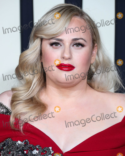 Badgley Mischka Photo - HOLLYWOOD LOS ANGELES CALIFORNIA USA - OCTOBER 15 Actress Rebel Wilson wearing a Badgley Mischka dress arrives at the Los Angeles Premiere Of Fox Searchlights Jojo Rabbit held at the Hollywood American Legion Post 43 on October 15 2019 in Hollywood Los Angeles California United States (Photo by Xavier CollinImage Press Agency)