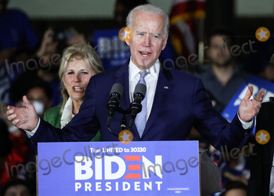 Vice President Joe Biden Photo - BALDWIN HILLS LOS ANGELES CALIFORNIA USA - MARCH 03 Former Vice President Joe Biden 2020 Democratic presidential candidate speaks while his wife Jill Biden left stands during the Jill and Joe Biden 2020 Super Tuesday Los Angeles Rally held at the Baldwin Hills Recreation Center on March 3 2020 in Baldwin Hills Los Angeles California United States (Photo by Xavier CollinImage Press Agency)