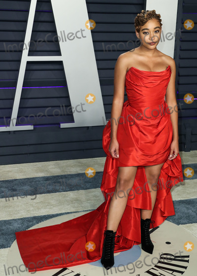 Tabitha Simmons Photo - BEVERLY HILLS LOS ANGELES CA USA - FEBRUARY 24 Actress Amandla Stenberg wearing a Vivienne Westwood gown with Jennifer Meyer jewelry and Tabitha Simmons booties arrives at the 2019 Vanity Fair Oscar Party held at the Wallis Annenberg Center for the Performing Arts on February 24 2019 in Beverly Hills Los Angeles California United States (Photo by Xavier CollinImage Press Agency)
