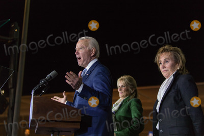 Joe Biden Photo - BALDWIN HILLS LOS ANGELES CALIFORNIA USA - MARCH 03 Former Vice President Joe Biden 2020 Democratic presidential candidate speaks while his wife Jill Biden center and sister Valerie Biden right stand at Joe Bidens Super Tuesday Los Angeles Rally held at the Baldwin Hills Recreation Center on March 3 2020 in Baldwin Hills Los Angeles California United States (Photo by Rudy TorresImage Press Agency)