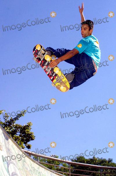 Allan Mesquita Photo -  Rio DE Janeiro Brazil Brazilian Skater Allan Mesquita During a Skate Show 652003 Photo Mauricio ValcorujapresscityfilesGlobe Photos Inc 2003