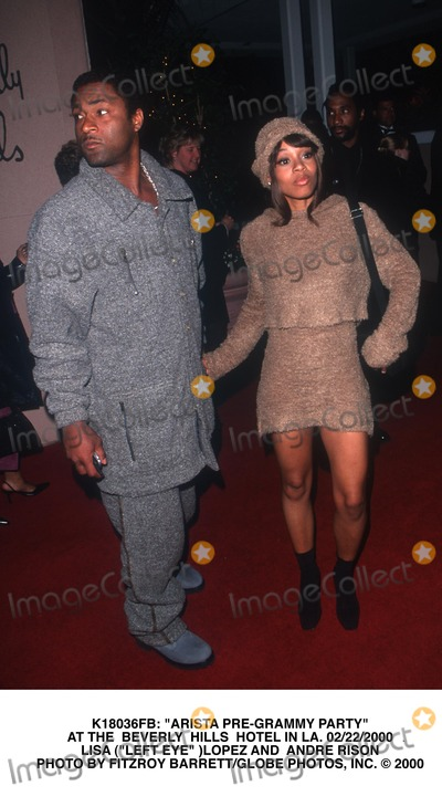 Left Eye Lopes Photo -  Arista Pre-grammy Party at the Beverly Hills Hotel in LA 02222000 Lisa (Left Eye )Lopez and Andre Rison Photo by Fitzroy BarrettGlobe Photos Inc