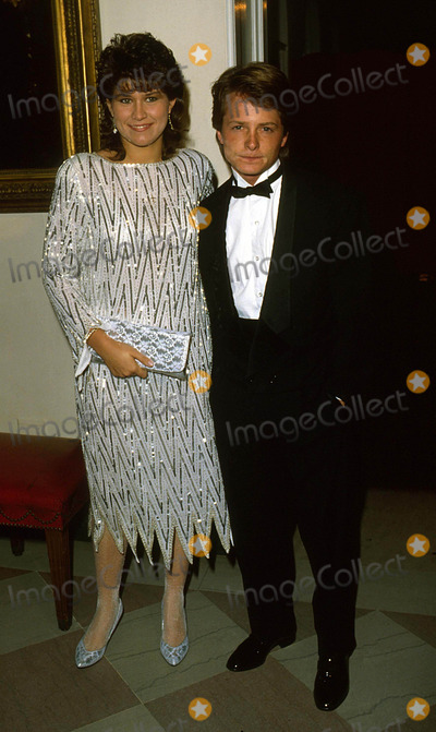 Nancy Mckeon Photo - Michael J Fox with Nancy Mckeon at White House State Dinner 1985 13813 Photto by James Colburn-ipol-Globe Photos Inc