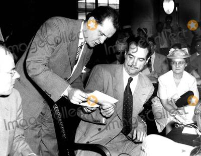Howard Hughes Photo - Francis D Flanagan Serving Howard Hughes with a Subpoena Washington DC 881947 Supplied by Globe Photos Inc Howardhughesretro