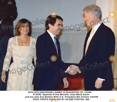 Ana Botella Photo - 042499 Nato 50th Anniversary Summit in Washington DC Spanish Prime Minister Jose Maria Aznar and His Wife Ana Botella Us President Bill Clinton Pool Photo Spplied by Globe Photos Inc 1999 Gamma Liaison N 350036