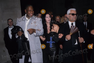 Andre Talley Photo - Karl Lagerfeld with Andre Talley and Cher Metropolitan Museums Costume Institute Gala Opening Versace Exhibit 1997 K10775smo Photo by Sonia Moskowitz-Globe Photos Inc
