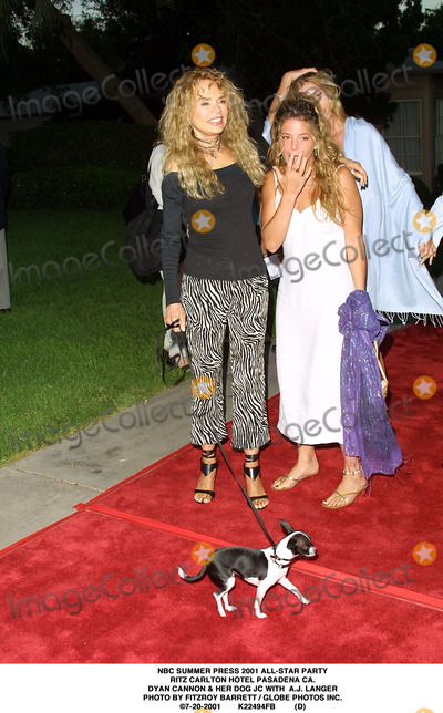 RITZ CARLTON Photo - NBC Summer Press 2001 All-star Party Ritz Carlton Hotel Pasadena CA Dyan Cannon  Her Dog Jc with Aj Langer Photo by Fitzroy Barrett  Globe Photos Inc 7-20-2001 K22494fb (D)
