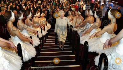 Albert Hall Photo - A14640NO UK RIGHTS UNTIL 30042004054522 03302004The Queen walks past ballerinas lining a stair way as she tours the Royal Albert Hall London during a tour of the concert hall to mark the completion of the eight year building development programme the hall has undergone