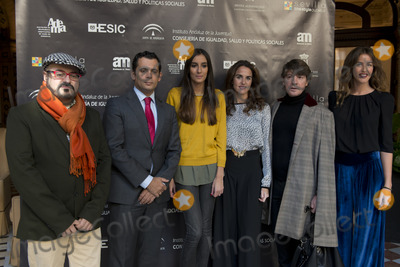 Adema Photo - SEVILLE SPAIN November 19 President of ADEMA Felipe Vivas Dr of IAJ Raul Perales Amanda Perralta Panambi representative Designer Daniel Carrasco and Panambi representative (L-R) attends the photocall for the presentation of the XI ediction of -Andalucia de Moda- in Alfonso XIII Hotel of Seville Spain