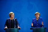 Photo - Chancellor Merkel welcomes the Minister President of Norway Solberg