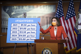 Photos From Speaker of the United States House of Representatives Nancy Pelosi (Democrat of California) offers remarks about about minimum wage increases during a press conference at the U.S. Capitol